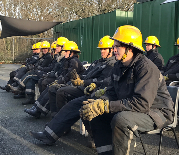 Student look on during a STCW Fire Safety Course