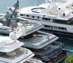 Superyachts in port at Antibes in France