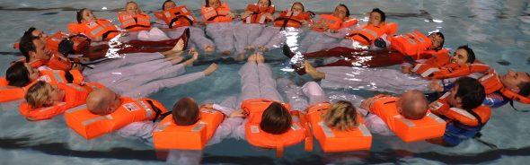 Students taking part in the Flying Fish STCW 95 Basic Safety Training Course