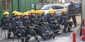 Briefing before fire fighting